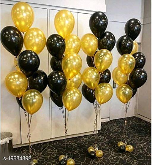 50pcs Golden, Black Metallic Balloons (10inch) for Birthday Decoration