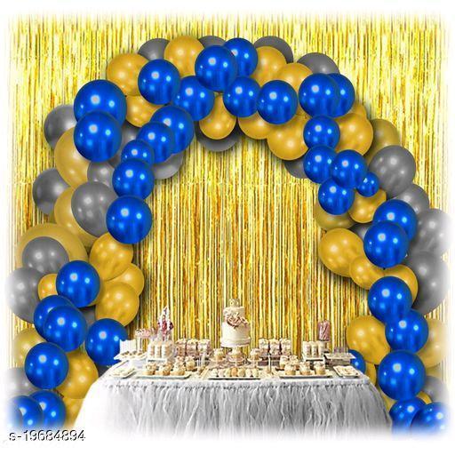 30pcs Metallic Blue, Golden, Silver Balloons Combo + 2pc Golden Fringe Curtains Decoration Combo(3*6.5feet)