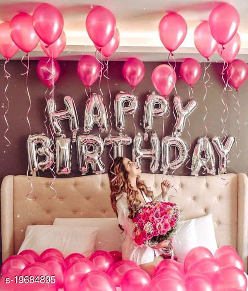 Happy Birthday Silver Letter Foil Balloons + 30pcs Pink Balloons for Birthday Decoration
