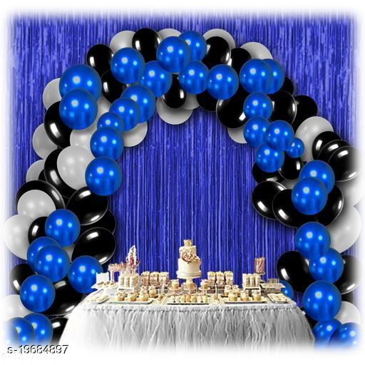 30pcs Metallic Blue, Black, White Balloons Combo + 2pc Blue Fringe Curtains Decoration Combo(3*6.5feet)