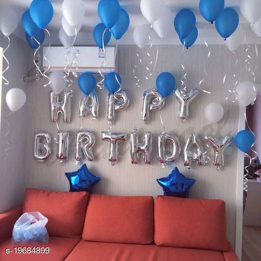 Happy Birthday Silver Letter Foil Balloons + 2pcs Blue Star Foil Balloons (10inch) + 30pcs Blue, White Balloons for Birthday Decoration