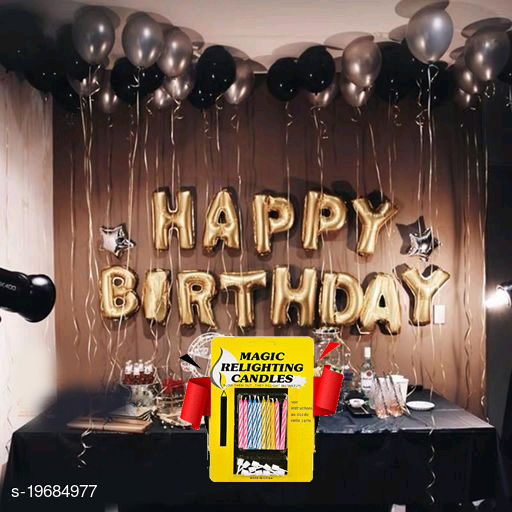 Happy Birthday Gold Letter Foil Balloons + 2 Star Silver (10inch) + 30pcs Black, Silver Balloons + 10 pcs Magic Candles