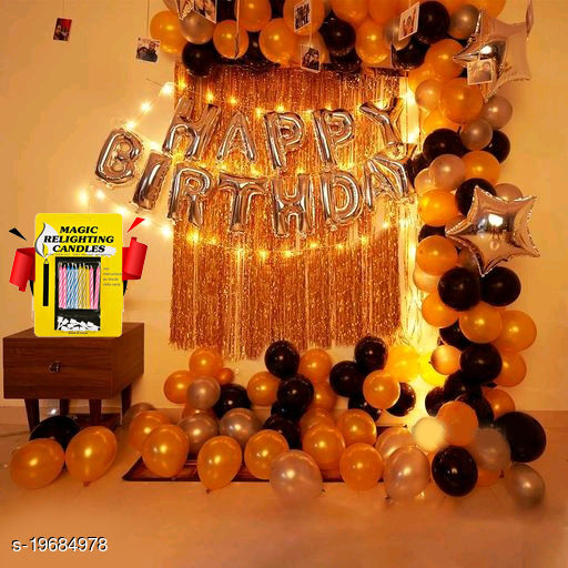 Happy Birthday Silver Foil Letters + 2 pcs Golden Fringe Curtain + 2 Silver Star Foil (10 inches)  Balloon + 10 pcs Magic Candles + 30pcs Golden, Silver & Black Balloon