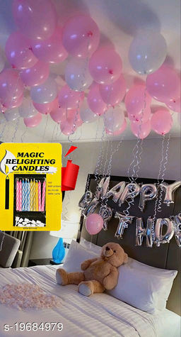 Happy Birthday Silver Letter Foil Balloon + 30pcs Pink, White Balloons + 10 pcs Magic Candles