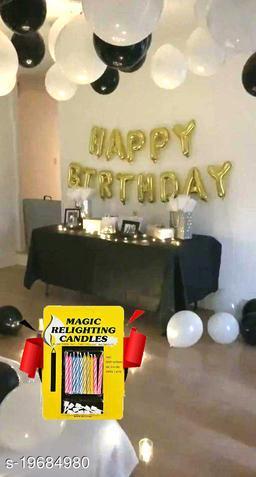 Happy Birthday Gold Letter Foil Balloons + 30 pcs Black, White Balloons + 10 pcs Magic Candles