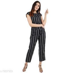 Pratyusha Women's New Trendy Stylish Design Striped Full Length Jumpsuit