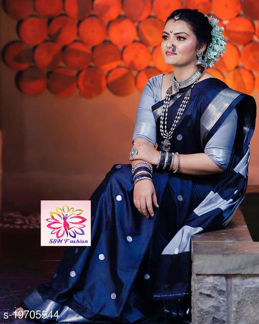 Shree silk Nevy blue silver zari Pethni Design saree