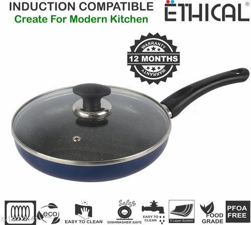 ETHICAL MASTREO Series PFOA Free Non-Stick Induction Bottom Fry Pan 24 cm diameter with Lid (Aluminium, Non-stick)