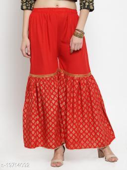 Red Printed Rayon Gharara