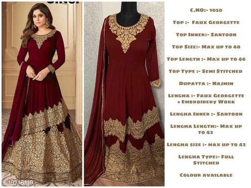 Miss Ethnik Women's Maroon Faux Georgette Semi Stitched Top With Stitched Faux Georgette Lehenga and Nazmin Dupatta Embroidered Sharara Suit
