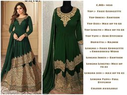 Miss Ethnik Women's Green Faux Georgette Semi Stitched Top With Stitched Faux Georgette Lehenga and Nazmin Dupatta Embroidered Sharara Suit