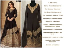 Miss Ethnik Women's Coffee Faux Georgette Semi Stitched Top With Stitched Faux Georgette Lehenga and Nazmin Dupatta Embroidered Sharara Suit