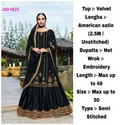 Miss Ethnic Women's Black Velvet Ethnic Wear Pakistani Designer Embroidery Work Semi Stitched Top with Unstitched Bottom and Net Dupatta Sharara Suit