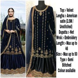 Miss Ethnic Women's Blue Velvet Ethnic Wear Pakistani Designer Embroidery Work Semi Stitched Top with Unstitched Bottom and Net Dupatta Sharara Suit