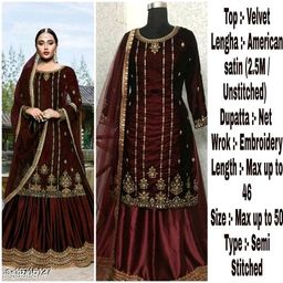 Miss Ethnic Women's Maroon Velvet Ethnic Wear Pakistani Designer Embroidery Work Semi Stitched Top with Unstitched Bottom and Net Dupatta Sharara Suit
