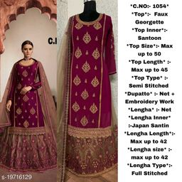 Miss Ethnik Women's Purple Faux Georgette Semi Stitched Top With Stitched Net Bottom and Net Dupatta Embroidered Sharara Suit