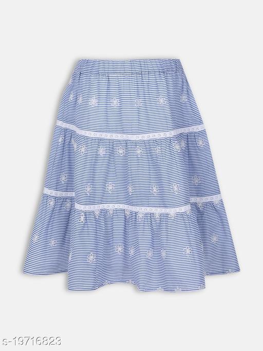 Aqua Cotton Girl's Skirt