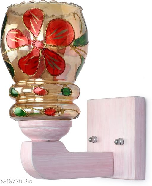 Afast LED Sconce Glass Wall Lamp With Sweet Pink Wood Fitting BX39