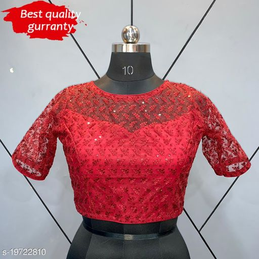 Readymade Net Blouse with Half Sleeve with Shifly Embroidery Work