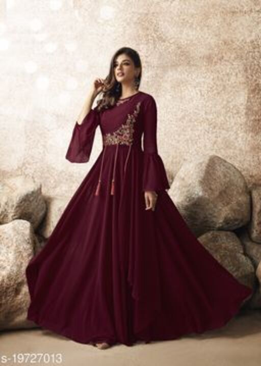 Radiant Maroon Colored Designer Partywear Embroidered Georgette Gown