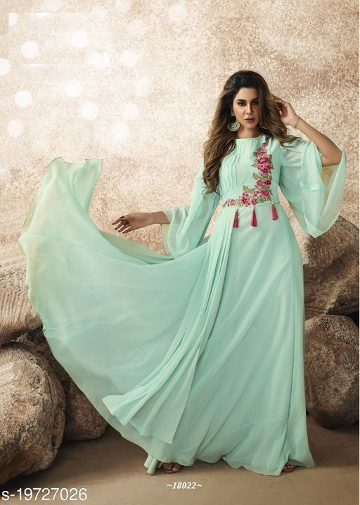 Pleasant Aqua Blue Colored Designer Partywear Embroidered Georgette Gown