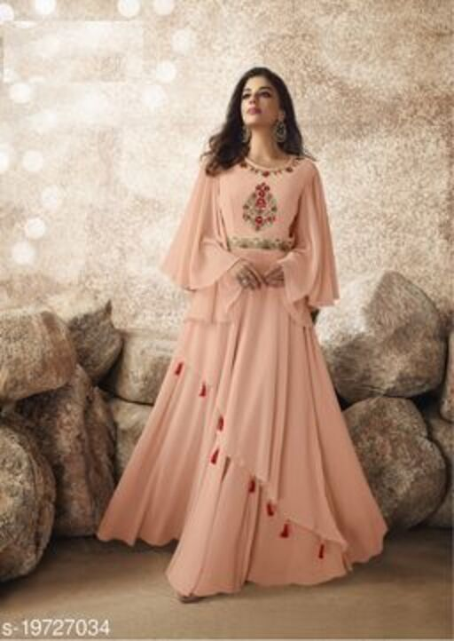 Opulent Peach Colored Designer Partywear Embroidered Georgette Gown