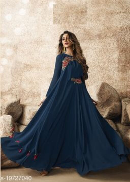 Elegent Blue Colored Designer Partywear Embroidered Georgette Gown