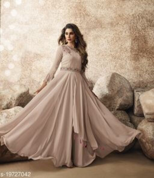 Opulent Cream Colored Designer Partywear Embroidered Georgette Gown