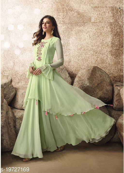 Opulent Light Green Colored Designer Partywear Embroidered Georgette Gown