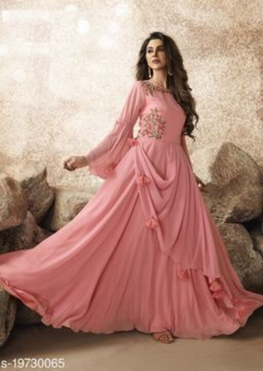 Opulent Pink Colored Designer Partywear Embroidered Georgette Gown