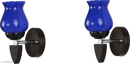 Afast LED Sconce Glass & Wood Wall Lamp/Light, 7 Watt & Wall Fixture (Set Of Two)-Rt135