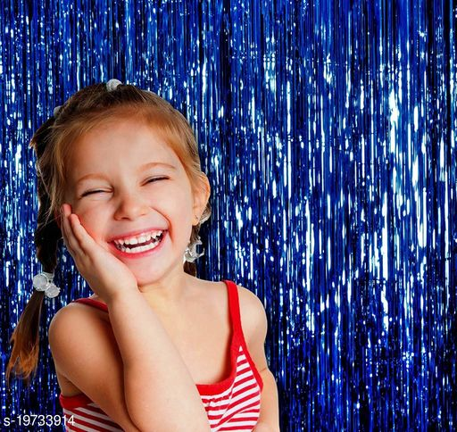 Style Secrets 3ft x 6ft High Grade Multipurpose Metallic Foil Fringe Curtains Backdrop/Curtain Party Decoration (Pack of 2 )- Blue