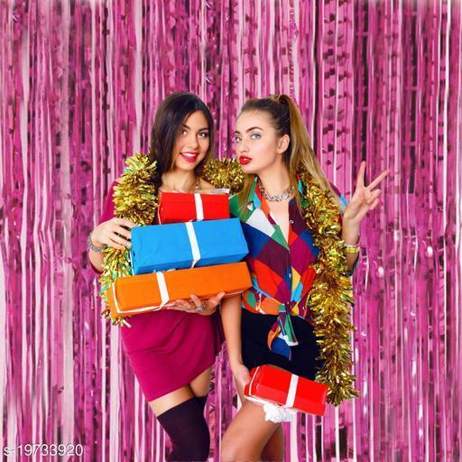 Style Secrets 3ft x 6ft High Grade Multipurpose Metallic Foil Fringe Curtains Backdrop/Curtain Party Decoration (Pack of 2 )- Purple