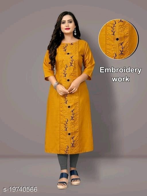 Women Cotton Blend Straight Embroidered Mustard Kurti