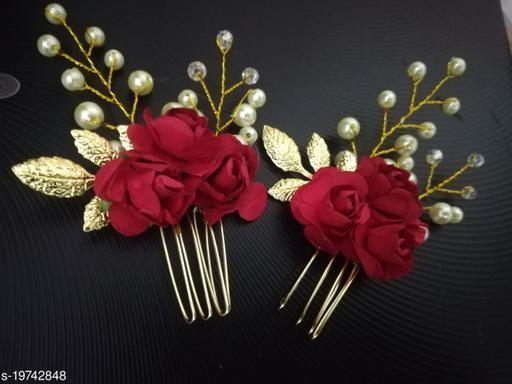 Ziory 2pcs Red Golden  Pearl Flower Design Gold Hair Juda Pins for Women/Girls