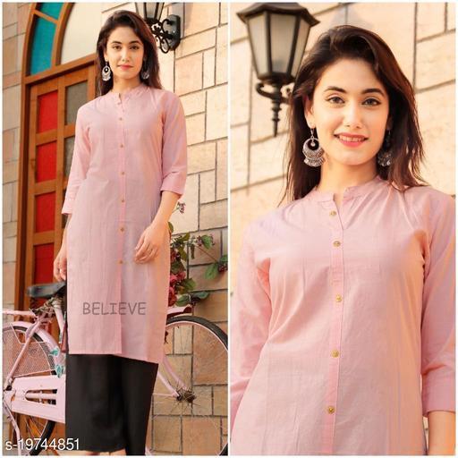 Beautiful Cotton Fabric Plain Kurti For Woman's