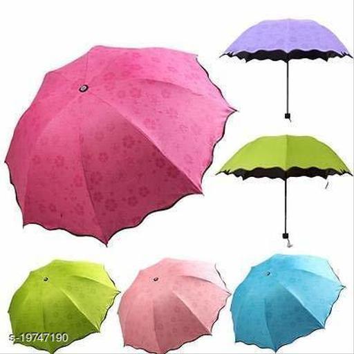 Fancy and Stylish Compact Size 3 Folded, Lightweight, UV Proof Magic Umbrella (Multicolour)