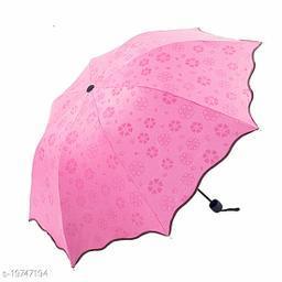 Fancy and Stylish Compact Size 3 Folded, Lightweight, UV Proof Magic Umbrella (Light Pink)