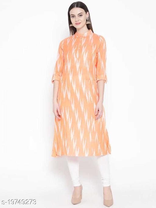 Women Cotton Orange Kurti