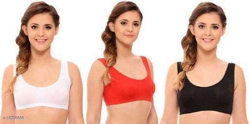 Women Sports Non Padded Bra  (Red, Black, White)