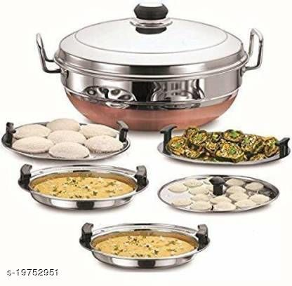 BIGBOUGHT Heavy Stainless Steal Copper Bottom Multi Kadhai With Lid Standard Idli Maker (5 Plates , 14 Idlis ) Induction & Standard Idli Maker Induction & Standard Idli Maker  (5 Plates , 14 Idlis )