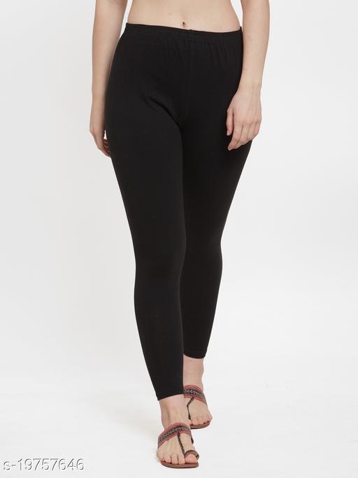 Women Black Ankle Length Cotton Lycra Legging