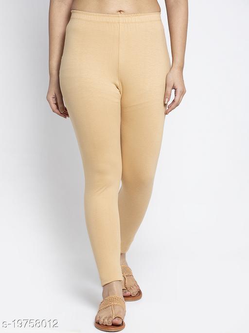 Women Beige Modern Lycra Solid Legging