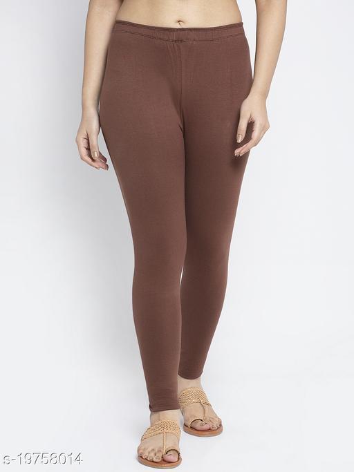 Women Brown Modern Lycra Solid Legging