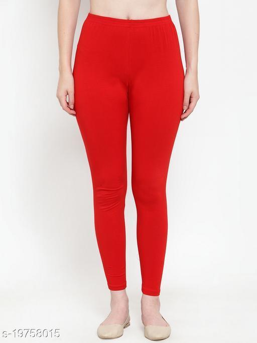 Women Red Ankle Length Cotton Lycra Legging