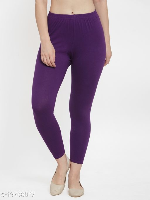 Women Purple Ankle Length Cotton Lycra Legging
