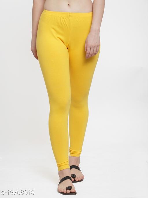 Women Yellow Ankle Length Cotton Lycra Legging