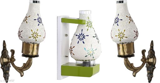 Afast Wall Lamp/ Light Combo Of 3 With Designer Wood Fitting SD032