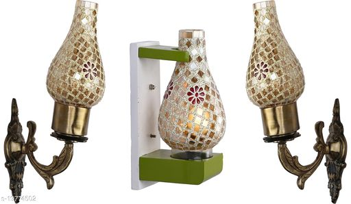 Afast Wall Lamp/ Light Combo Of 3 With Designer Wood Fitting SD033