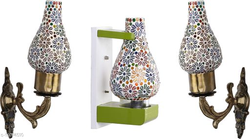 Afast Wall Lamp/ Light Combo Of 3 With Designer Wood Fitting SD031
